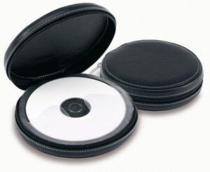 Leather Executive Circular Zip CD Case, Holds 24 CDs