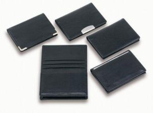 Classic Leather Card Holder W/ Gold Corners