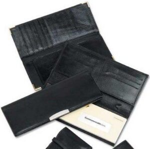Deluxe Leather Cheque Book Wallet W/ Silver Trim