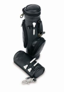 Leather Golf Caddy, Holds 4 Balls (Black)