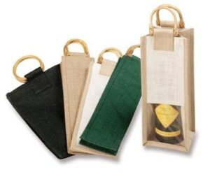 Jute Single Bottle Tote W/ Window (Includes Print) - Made To Order