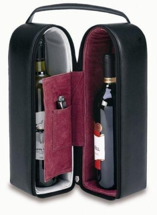 Bonded Leather Double Wine Tote W/ Suede Interior (Includes WF1)