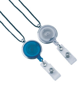 Retractable Badge Holder -Blue with lanyard