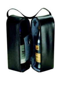 Insulated Two Bottle Leather Wine Carrier