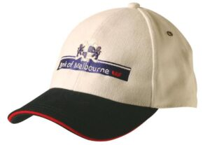 Two tone heavy brushed cotton with contrast sandwich peak cap