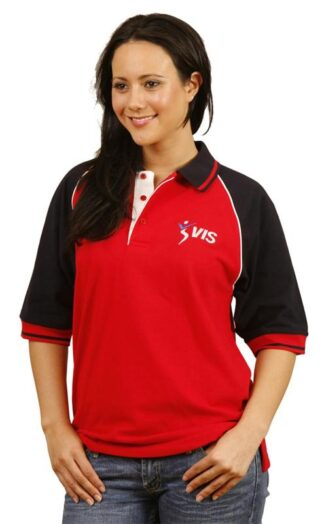 Unisex cotton rich short sleeves pique polo with contrast raglan sleeves, piping and plackets