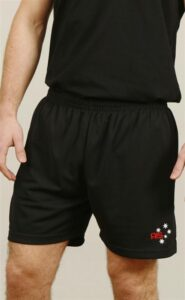 Adult sports shorts: 100% Cooldry micro-mesh polyester.