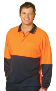 Hi-Vis CoolDry mesh knit Safety Polo Long sleeve