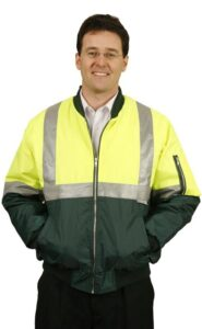 Hi-Vis Two tone flying jacket with silver reflective tapes.
