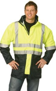 Hi-Vis Jacket, 3M scotchlite bands for night reflective, PU coated rain proof, mesh lining, hideaway hood. (D/N)