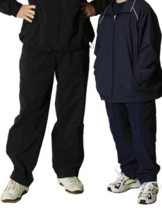 Kids track pants: Nylon rip-stop shell with polyester mesh lining