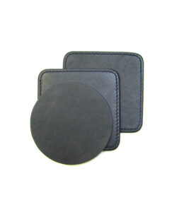 BLACK COW LEATHER COASTERS