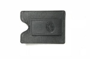 BLACK KANGAROO LEATHER MONEY CLIP WALLET