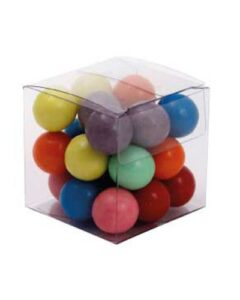 SMALL CLEAR CUBE WITH MIXED CHOCOLATE BALLS