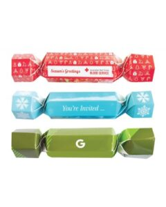 CUSTOM PRINTED COLOURED CHRISTMAS CRACKERS WITH CHOICE OF ANY ONE CHOCOLATE FILLING
