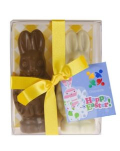 2 X EASTER BUNNIES CHOCOLATE GIFT PACK CUSTOMISED WITH STICKER AND SWING TAG