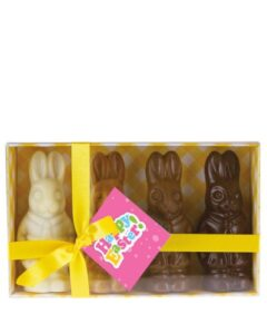 4 X EASTER BUNNIES CHOCOLATE GIFT PACK CUSTOMISED WITH STICKER AND SWING TAG