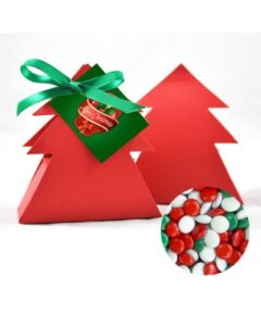 CHRISTMAS TREE BOX WITH RED, WHITE AND GREEN CHOCOLATE GEMS