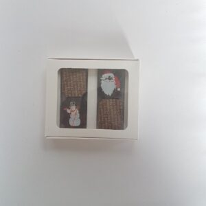 4PC SANTA AND SNOWMAN CHOCOLATE GIFT BOX MADE WITH PREMIUM BELGIAN CHOCOLATE