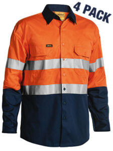 3M TAPED TWO TONE HI VIS COOL LIGHTWEIGHT MENS SHIRT 4 PACK - LONG SLEEVE