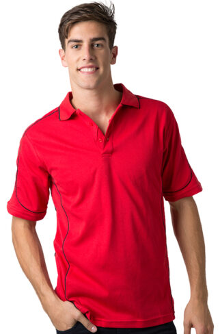 Mens Combed Cotton Waffle Knit Polo Shirt