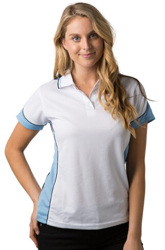 Ladies Polo Shirt With Striped Collar