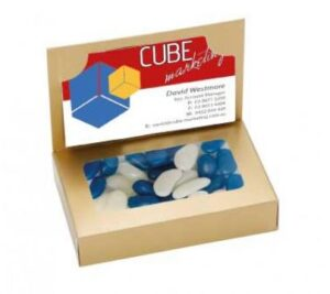 BUSINESS CARD BOX WITH JELLY BEANS (CORPORATE COLOUR)