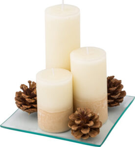 Set of three pillar candle on glass plate