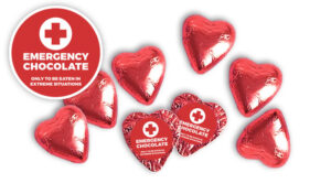 EMERGENCY CHOCOLATE PERSONALISED FOIL CHOCOLATE HEARTS