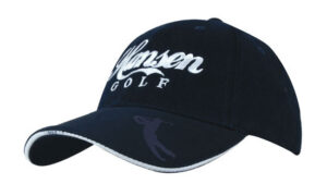 Brushed Heavy Cotton Cap With Embossed Golfer Icons and Sandwich