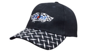 Brushed Heavy Cotton Cap With Checker Plates On Peak