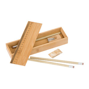 Bamboo Pencil Case Set