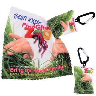 Custom Superior HI Microfibre Lens Cloth In Pouch with Carabiner