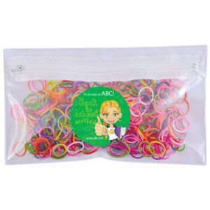 Assorted Colour Loom Bands in PVC Organiser / Pencil Case with Zipper (STOCK)