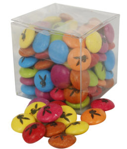 100 GRAMS CLEAR BOX CUSTOM PRINTED SMARTIES [TM] / CHOCOLATE BEANS