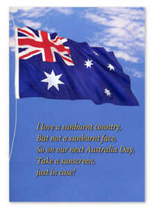 Australia Day Greeting Card with 7g Sachet of Sunscreen
