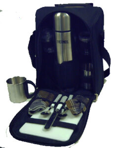 Insulated Coffee Cooler Bag & 2 Person Picnic Set-Olive/Black Trim (incl S/Steel Flask)