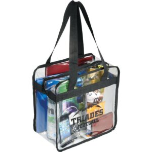 Game Day Clear Zippered Safety Tote - Black Solid