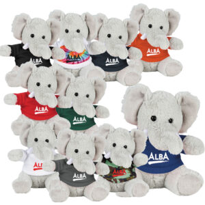 6 Inch Plush Elephant with Shirt - Black