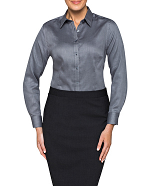 WOMENS CLASSIC FIT SHIRT COTTON POLYESTER DOBBY HERRINGBONE EASY CARE