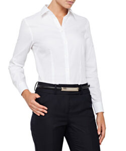 WOMENS CLASSIC FIT SHIRT COTTON POLYESTER MINI HERRINGBONE EASY CARE