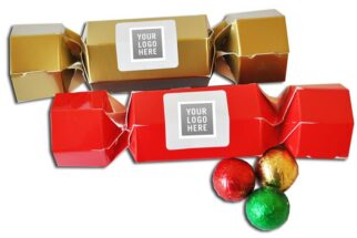 CHRISTMAS CRACKERS COLOURED with Chocolate Baubles