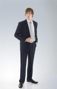 Mens Single Breasted 2 Button Comfort Wool Stretch Jacket