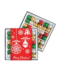 45 X CHRISTMAS CHOCOLATE BAUBLES IN A GIFT BOX AND BRANDED WITH A CUSTOM PRINTED SLEEVE