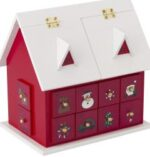 Wooden house advent calendar with drawers
