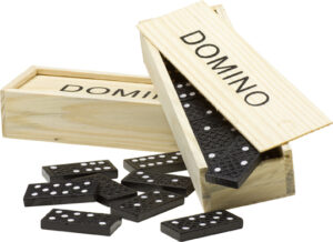 Domino game in a wooden box