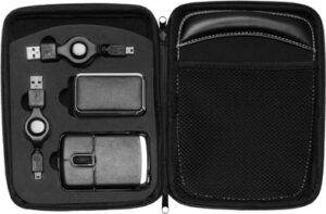 Computer set in a zipped case