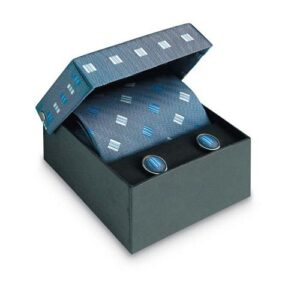 Tie and cufflinks in box