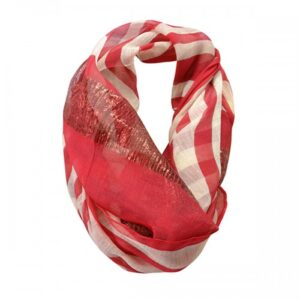 Phoebe Red Scarf Poly-Cotton, Lurex