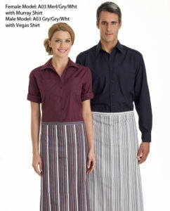 3/4 Stripe Bistro Apron with Pocket - 9 Colours